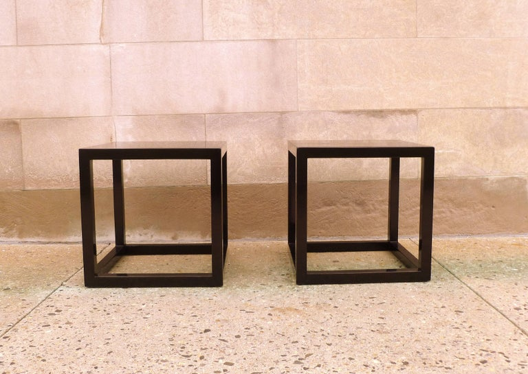 Fine black lacquer end tables. Simple and elegant form. Beautiful color and form. We carry fine quality furniture with elegant finished and has been appeared many times in