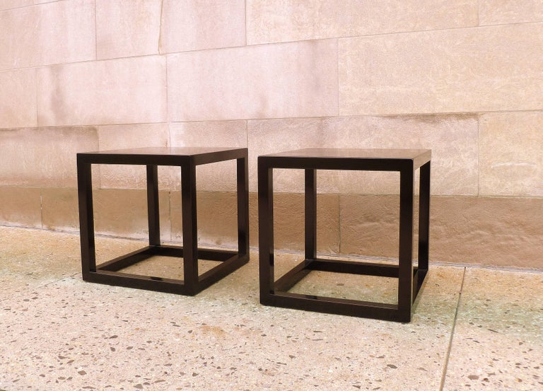 Ming Pair of Fine Black Lacquer End Tables For Sale