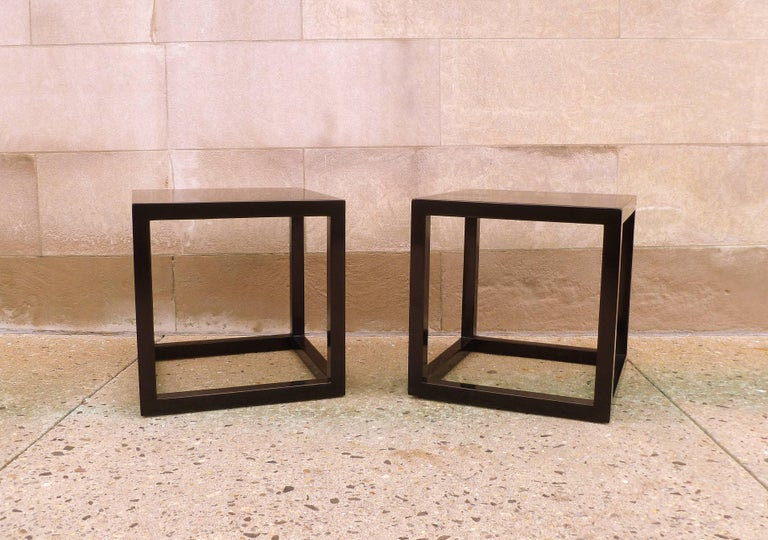 Polished Pair of Fine Black Lacquer End Tables For Sale