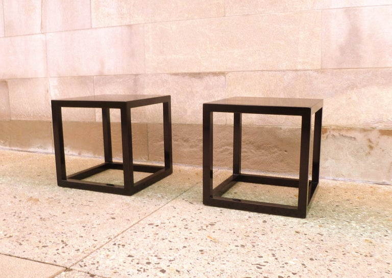 Pair of Fine Black Lacquer End Tables For Sale 2