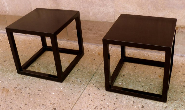 Pair of Fine Black Lacquer End Tables For Sale 3