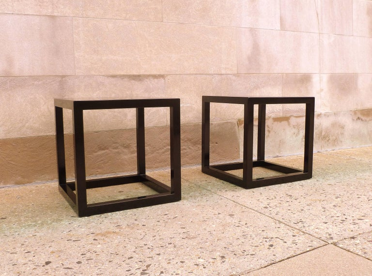 Pair of Fine Black Lacquer End Tables For Sale 4