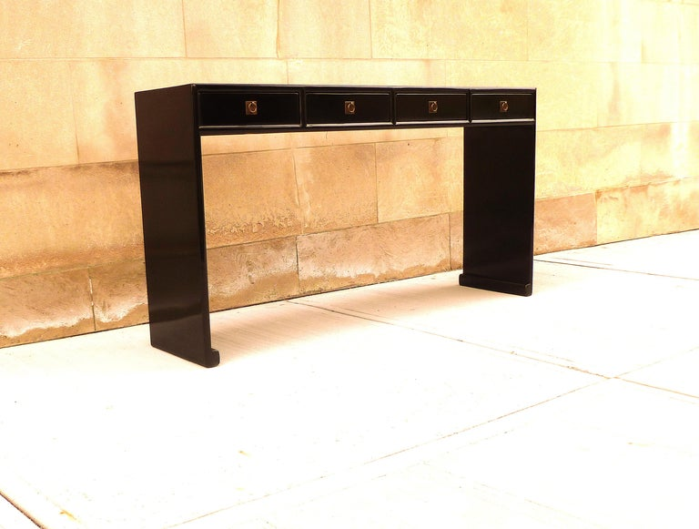 Mid-20th Century Fine Black Lacquer Console Table For Sale