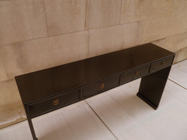 Fine Black Lacquer Console Table For Sale 1