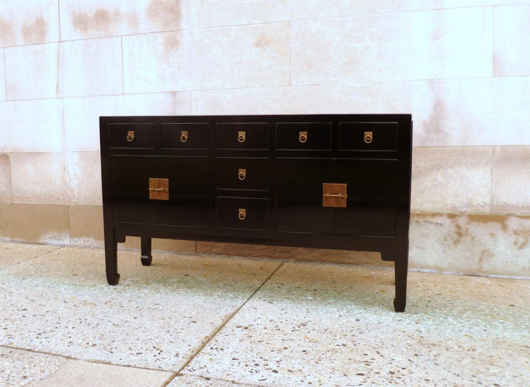 Ming Fine Black Lacquer Sideboard or Console Table For Sale