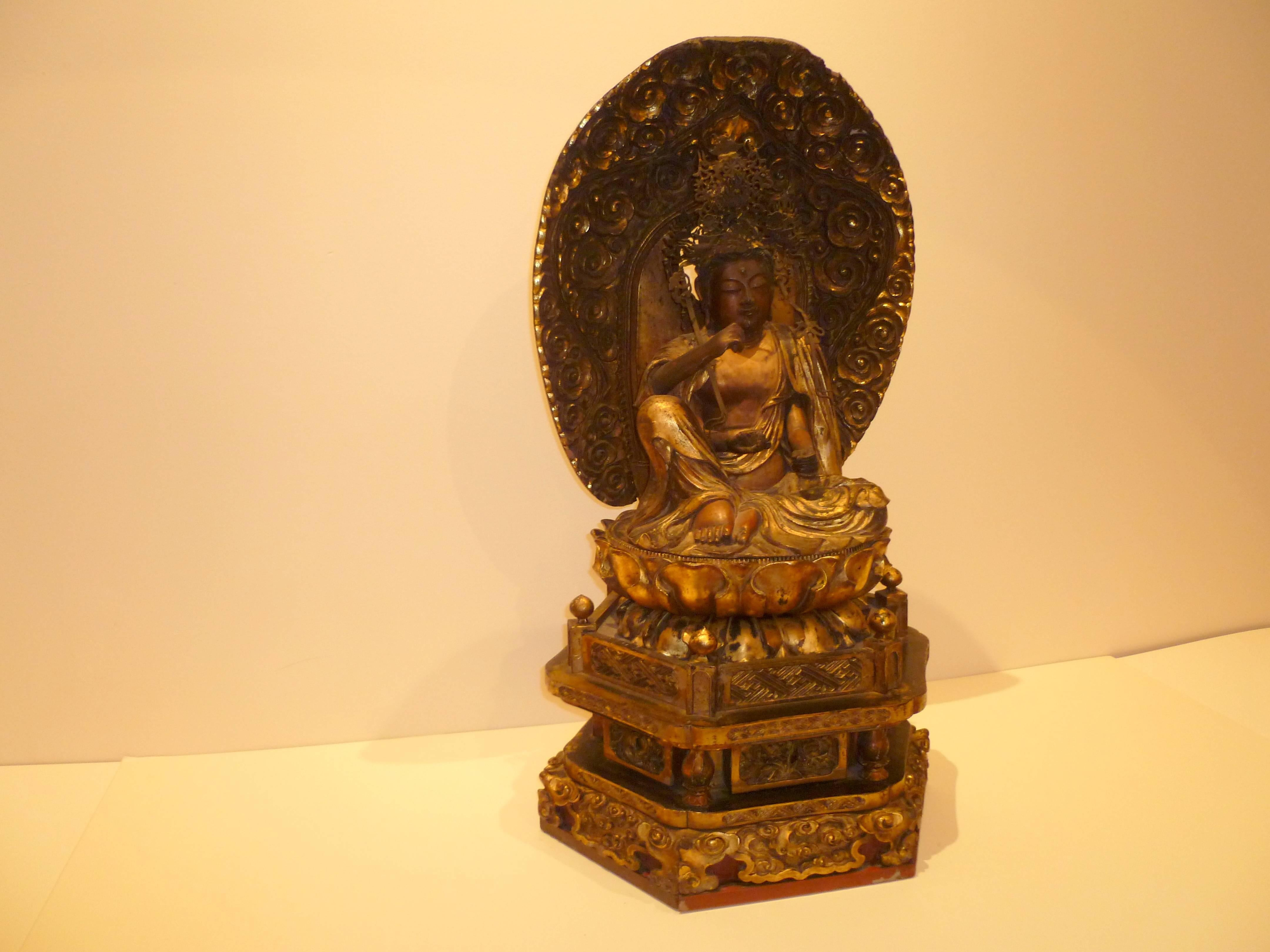 Japanese Gilt Lacquered Wood Buddhist Figure of Nyorin Kannon For ...