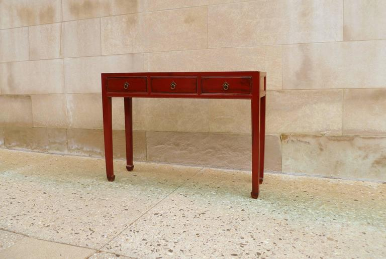 Ming Red Lacquer Table with Three-Drawers For Sale