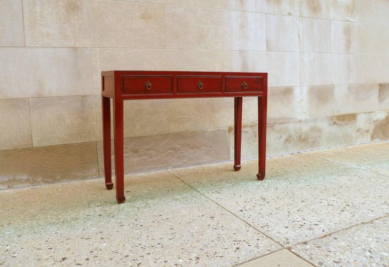 Chinese Red Lacquer Table with Three-Drawers For Sale