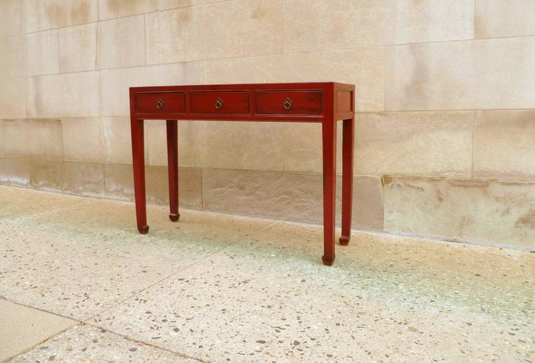 Polished Red Lacquer Table with Three-Drawers For Sale
