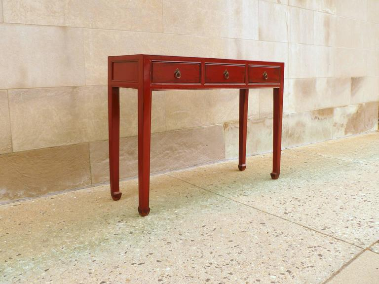 Red Lacquer Table with Three-Drawers In Excellent Condition For Sale In Greenwich, CT