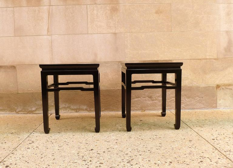 Pair of refined and elegant black lacquer square end tables, beautiful color, form and lines.  We carry fine quality furniture with elegant finished and has been appeared many times in