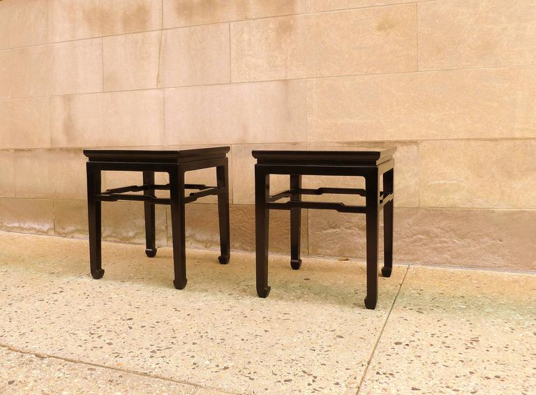 Ming Fine Pair of Black Lacquer End Tables For Sale