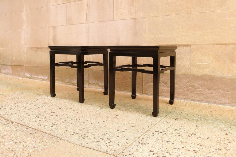 Chinese Fine Pair of Black Lacquer End Tables For Sale