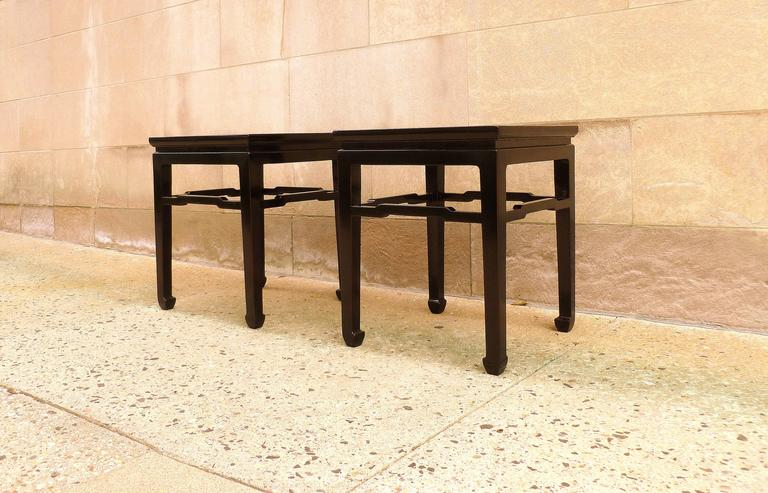 Polished Fine Pair of Black Lacquer End Tables For Sale