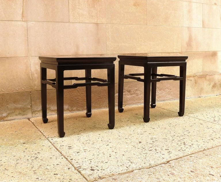 Early 20th Century Fine Pair of Black Lacquer End Tables For Sale