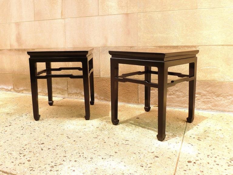 Fine Pair of Black Lacquer End Tables For Sale 1