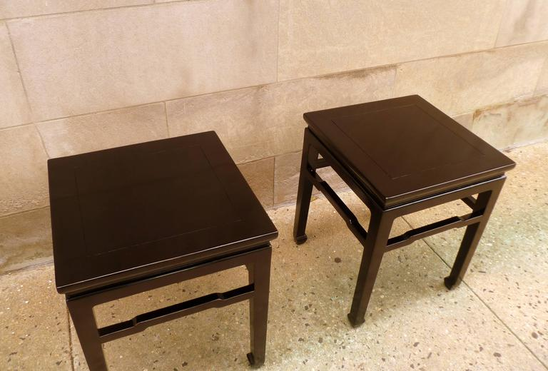 Fine Pair of Black Lacquer End Tables For Sale 2