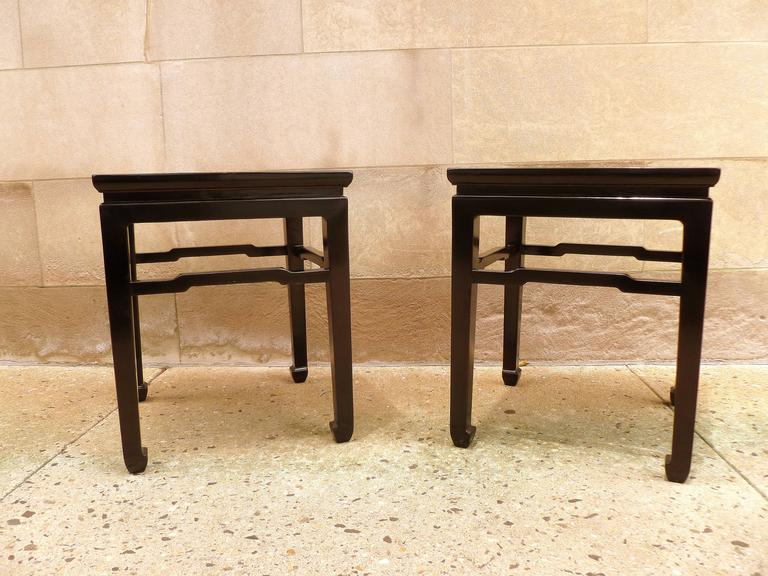 Fine Pair of Black Lacquer End Tables For Sale 3