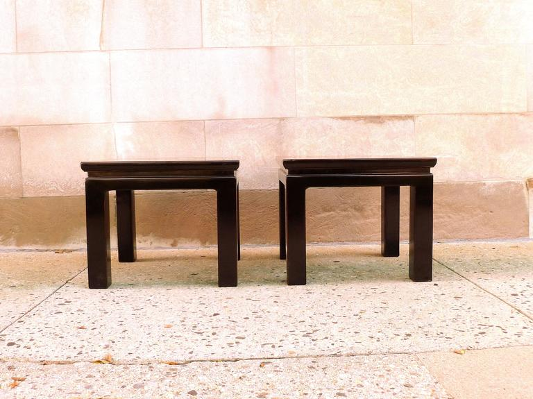 Pair Of Refined Black Lacquer Square End Tables At 1stdibs