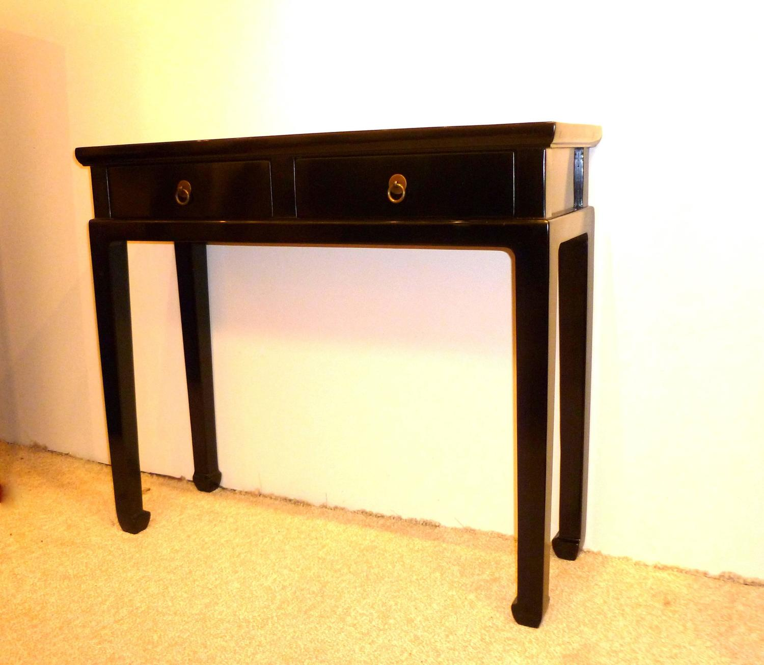 Fine Black Lacquer Console Tables With Two Drawers For