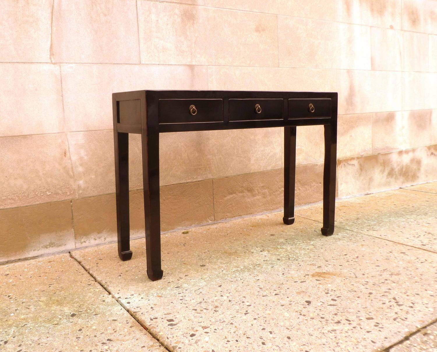 Fine Black Lacquer Console Table With Drawers For Sale At
