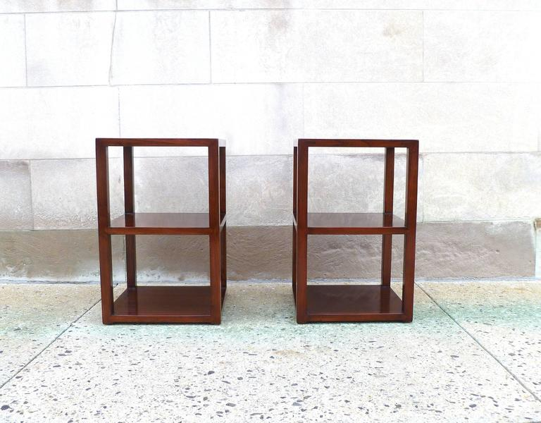 Fine pair of Jumu end tables with shelves. Very elegant and fine jumu end tables, beautiful form and color.  We carry fine quality furniture with elegant finished and has been appeared many times in