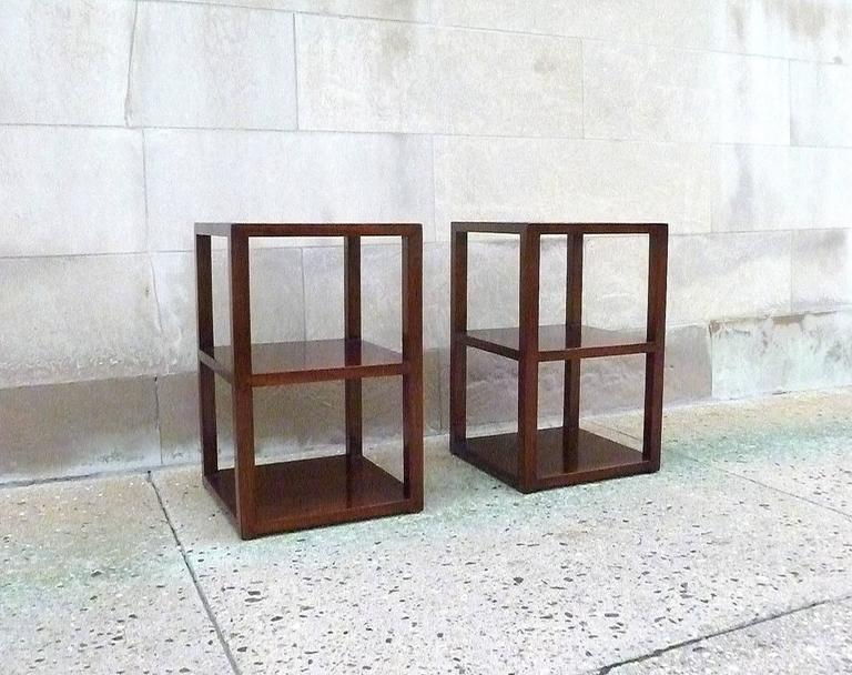 Polished Pair of Fine Jumu End Tables  For Sale