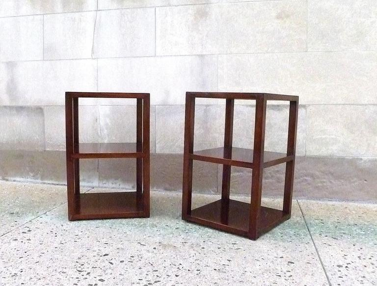 Wood Pair of Fine Jumu End Tables  For Sale