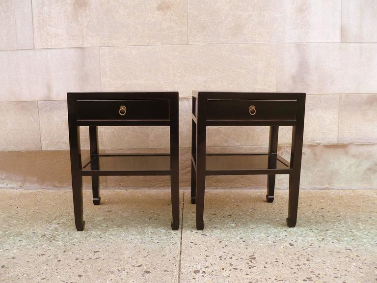 Pair Of Fine Black Lacquer End Tables For Sale At 1stdibs