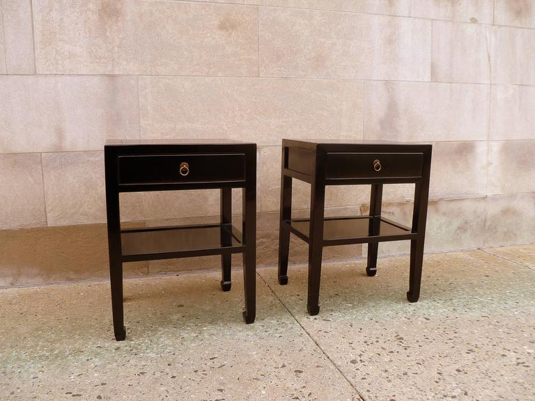 Chinese Pair of Fine Black Lacquer End Tables For Sale