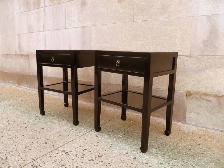 Pair of Fine Black Lacquer End Tables In Excellent Condition For Sale In Greenwich, CT