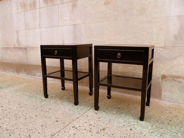 Early 20th Century Pair of Fine Black Lacquer End Tables For Sale