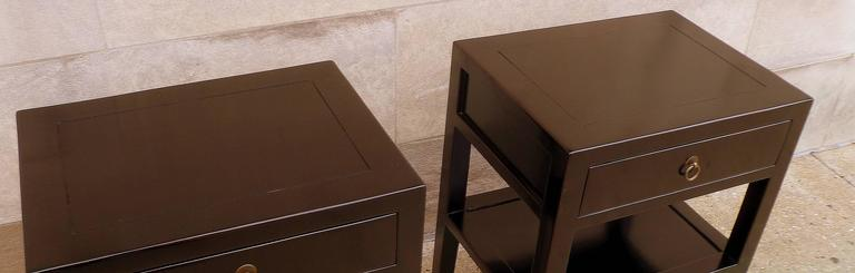 Pair of Fine Black Lacquer End Tables For Sale 1