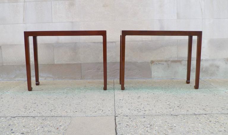 Pair of fine Jumu console table. Simple and elegant form with straight legs.  We carry fine quality furniture with elegant finished and has been appeared many times in