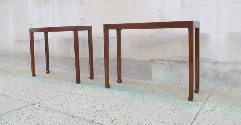 Polished Pair of Fine Jumu Console Tables For Sale
