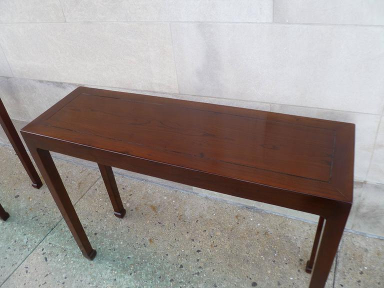 Wood Pair of Fine Jumu Console Tables For Sale