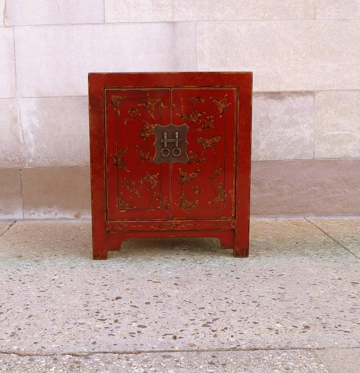 Fine red lacquer chest with gilt motif butterflies design. Elegant and beautiful color.