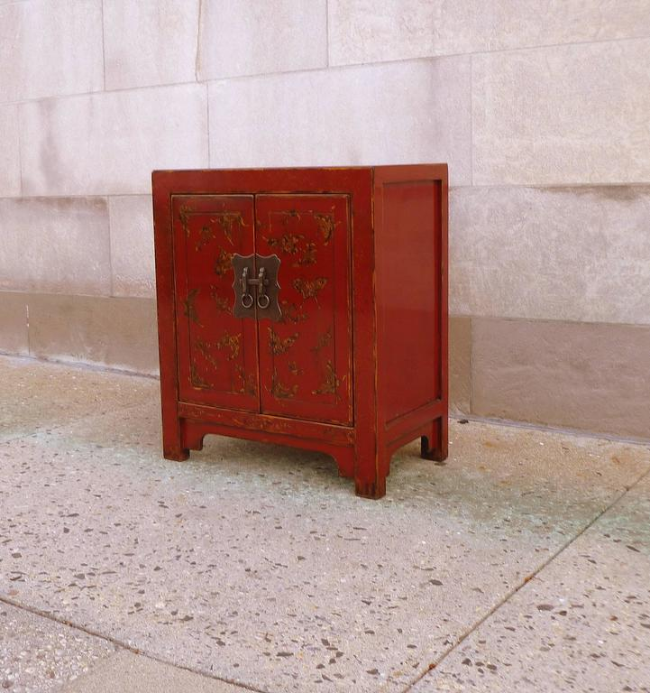 Polished Fine Red Lacquer Chest with Gilt Motif Design For Sale