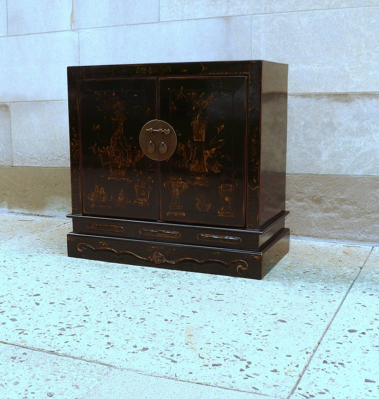 Asian Fine Black Lacquer Chest with Gilt Motif For Sale