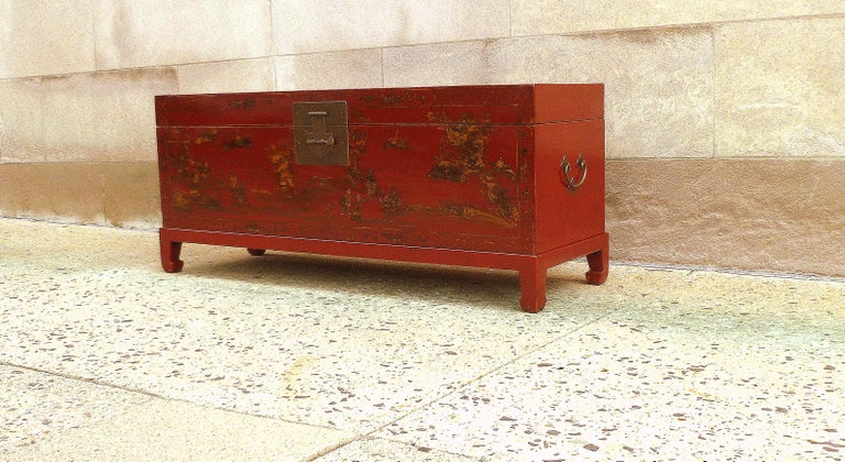 Asian Fine Red Lacquer Trunk with Gilt Motif For Sale