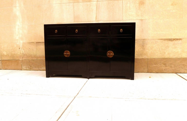 Ming Fine Black Lacquer Sideboard For Sale