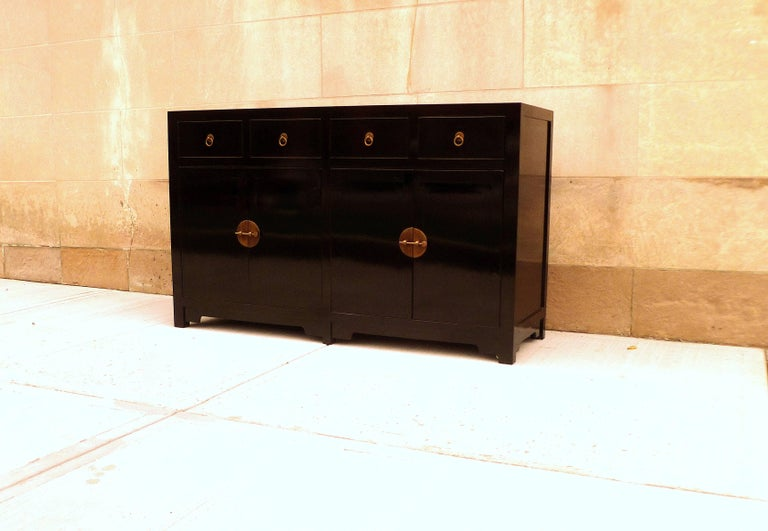 Chinese Fine Black Lacquer Sideboard For Sale