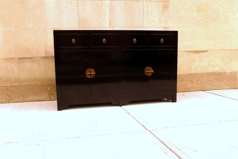 Polished Fine Black Lacquer Sideboard For Sale