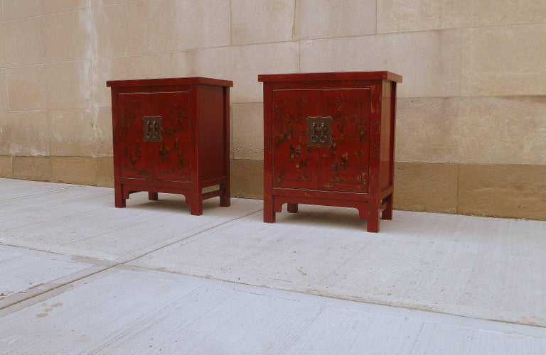 Chinese Pair of Fine Red Lacquer Chests with Gilt Motif For Sale