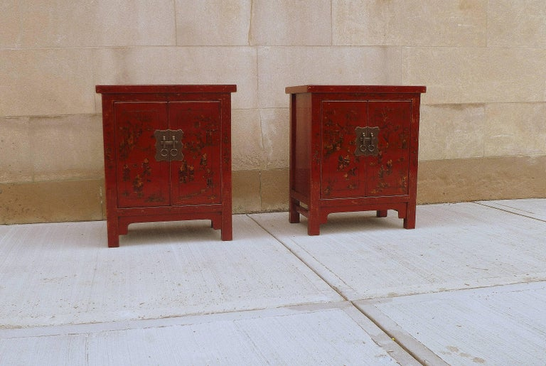 Polished Pair of Fine Red Lacquer Chests with Gilt Motif For Sale