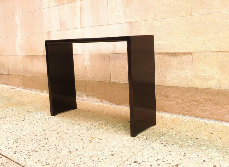 Polished Fine Black Lacquer Console Table For Sale