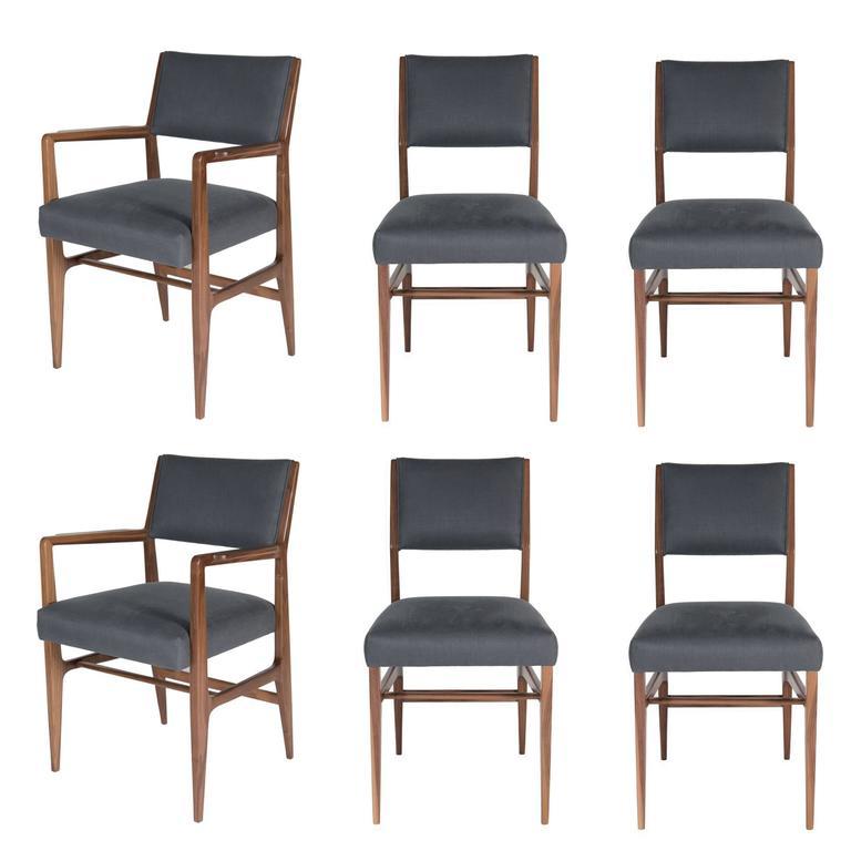 Set of Six Maze Walnut Dining Chairs