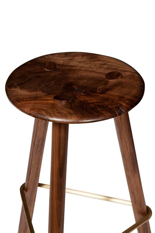 American Erickson Aesthetics Set of Four Walnut Stools For Sale
