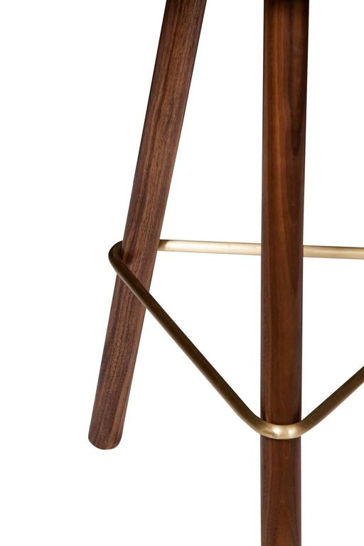 Erickson Aesthetics Set of Four Walnut Stools In Excellent Condition For Sale In New York, NY