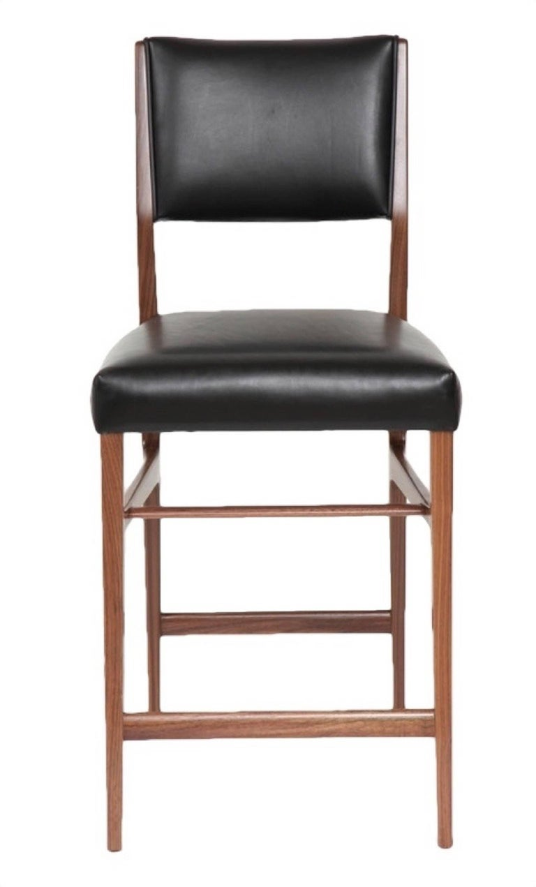Contemporary Set of Five Maze Walnut Counter Stools For Sale